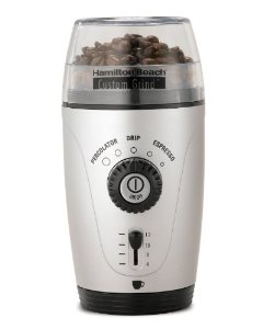 Hamilton Beach 80365 Custom Grind Hands-Free Coffee Grinder, Platinum: Power Coffee Grinders: Kitchen & Dining