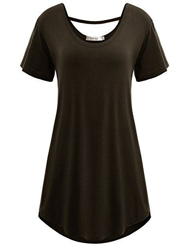 Meaneor Women's High Low Hem Scoop Neck Loose Casual T-shirt Tunic Top Coffee XXL