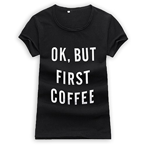 M-Egal Women Short Sleeve T shirt Ok But First Coffee Printed Letters Couple Casual Tee Shirts black M