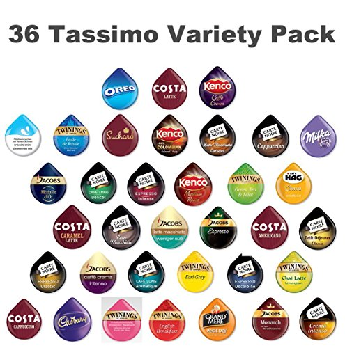 36 Tassimo T Discs Pods Variety Pack – 1 x Each Flavour