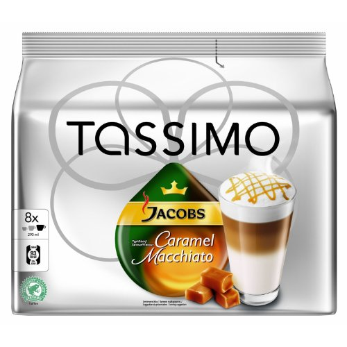Tassimo Jacobs Caramel Macchiato, Rainforest Alliance Certified, 16 T-Discs (8 Servings)