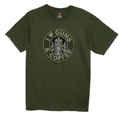I Love Guns & Coffee Adult T-Shirt (Military Green/Medium)