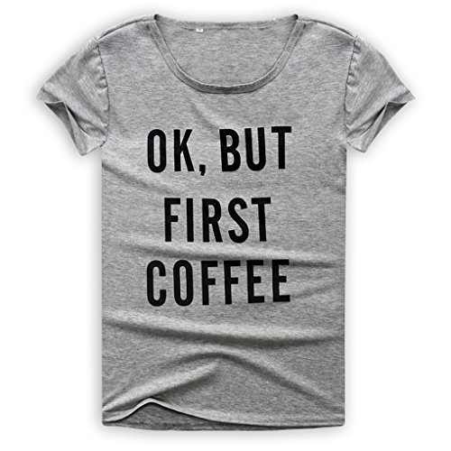 M-Egal Women Short Sleeve T shirt Ok But First Coffee Printed Letters Couple Casual Tee Shirts grey S