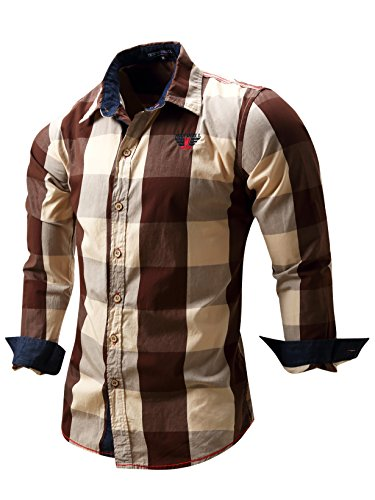 Neleus Men's Long Sleeve Button Down Plaid Shirts,112,Coffee,M,Tag L