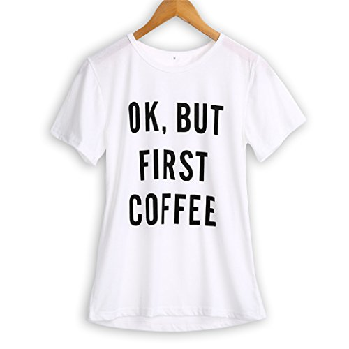 M-Egal Women Short Sleeve T shirt Ok But First Coffee Printed Letters Couple Casual Tee Shirts white M