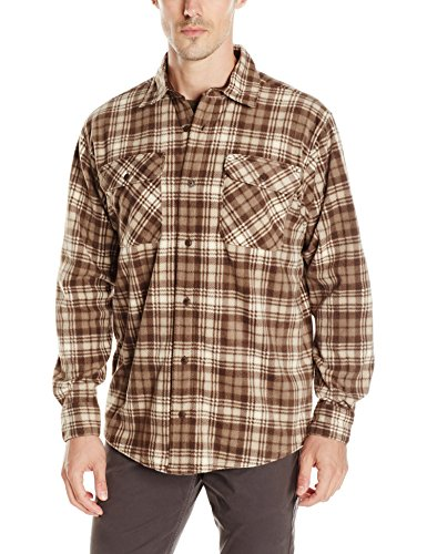 Wrangler Men's Authentics Long-Sleeve Fleece Shirt, Turkish Coffee Plaid, M