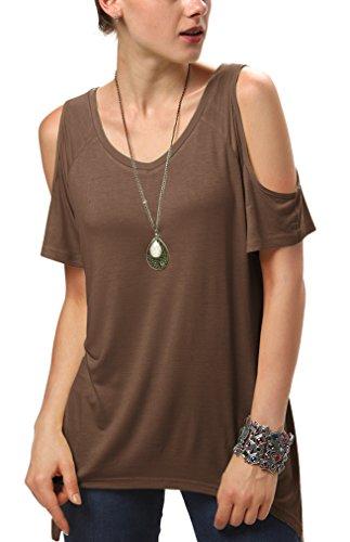 Urban CoCo Women's Vogue Shoulder Off Wide Hem Design Top Shirt (2XL, Coffee-1)