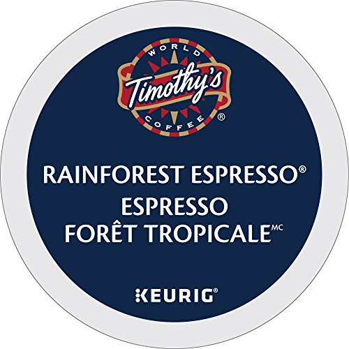 Timothy`s Rainforest Espresso Single Serve K-Cup pods for Keurig brewers, 30 Count