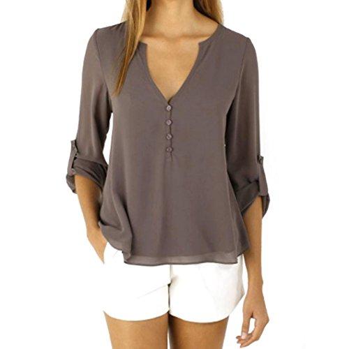 Changeshopping Womens Casual Loose Long Sleeve Chiffon Shirt Tops Fashion Blouse (L, Coffee)