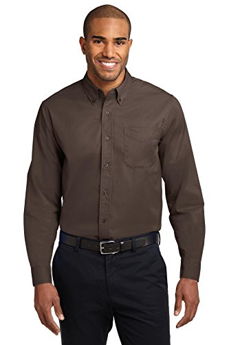 Port Authority Men's Long Sleeve Easy Care Shirt L Coffee Bean/Light Stone