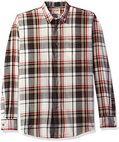 Wrangler Men's Authentics Long Sleeve Premium Shirt, Turkish Coffee Plaid, XL