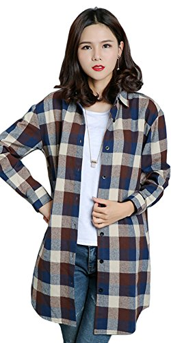 Benibos Womens Long Flannel Plaid Shirts (Coffee, M)