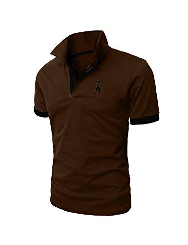 Bestgift Men's Casual Slim Short Sleeve Polo T-shirt Coffee XXXL