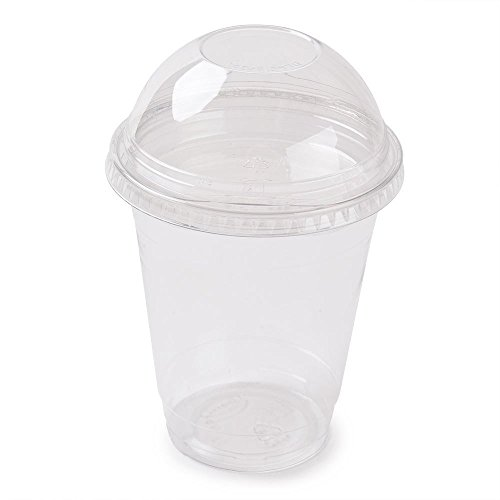 Clear Plastic Disposable Cups for Iced Coffee Bubble Boba Tea Smoothie, 12 oz with Dome Lids (100 Pack)
