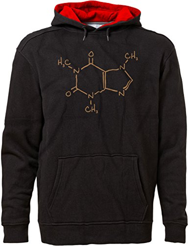 BSW Men's Caffeine Molecule Formula C8H10N4O2 Science Coffee Premium Hoodie 3XL Blk/Red
