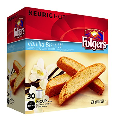 Folgers Vanilla Biscotti Coffee K-Cup Pods, 30 K-Cups