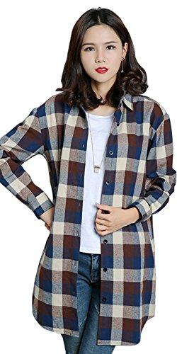 Benibos Womens Long Flannel Plaid Shirts (XXL, Coffee)