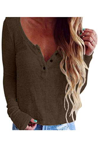 Women Casual Long Sleeve V Neck Button Down Loose Perspective T-Shirt Blouse Top Tee Coffee S