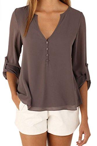 Women's Long Sleeve Back Buttons V Neck Irregular Chiffon Blouse Top Plus Size Coffee XS