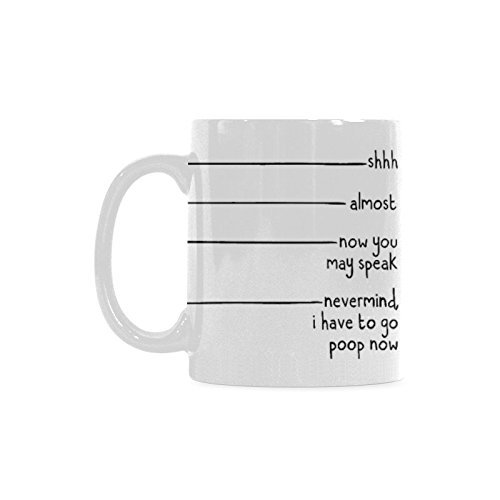 Nevermind I Have To Go Poop Now Theme Coffee Mug or Tea Cup,Ceramic Mugs, White – 11 oz