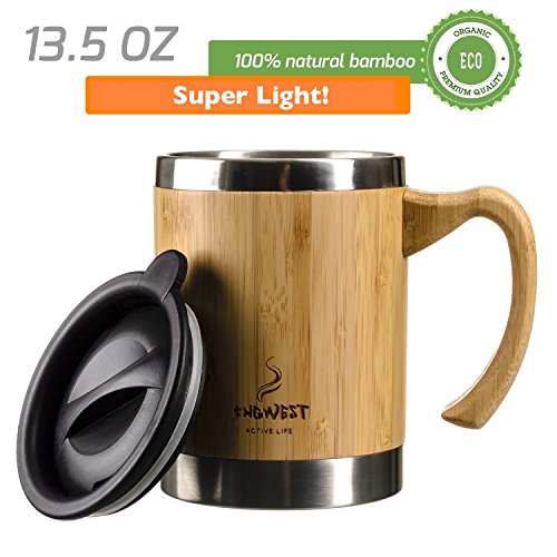 InGwest Active Life. Bamboo Coffee Mug for Men/Women – 13.5 fl.oz. (400 ml) Super Light Eco Stainless Steel Coffee\Tea Mugs with Lid and Bamboo Handle! Large Coffee Mugs. Thickened layer of bamboo!