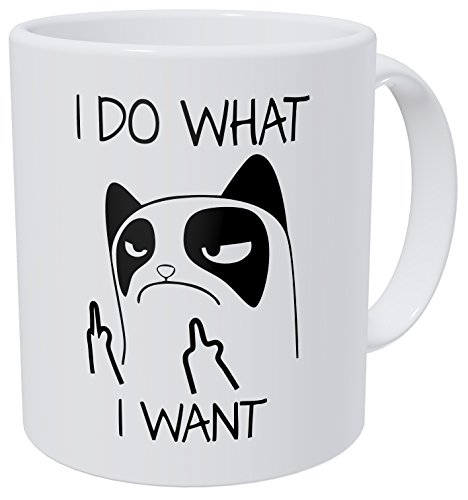 I do what I want, cat face – 11OZ ceramic coffee mug – Best funny and inspirational gift by Whoisyourdaddy