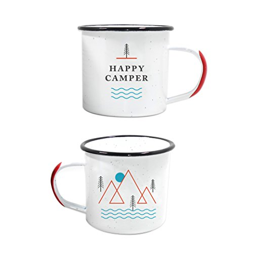 Happy Camper Enamel Camping Mug – White 12 Ounce (350 ml), Eco-Friendly Camp Mugs Perfect For Hot Morning Coffee Or Cool Campfire Whiskey. (Two Unique Styles To Choose From. By Journo Travel Gear.) …
