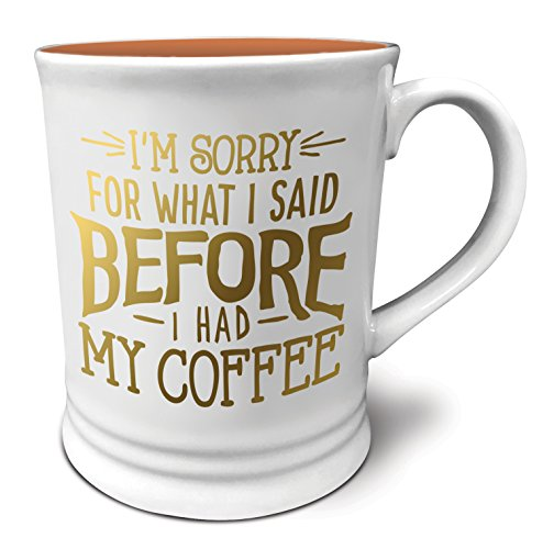 Studio Oh! Witticisms I'm Sorry For What I Said Before I Had Coffee Ceramic Mug, 16 Ounce, Multicolor