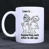 Funny Mug White – Love Is¡­Supporting Each Other In Old Age Funny Illustration Coffee Mugs – Funny Inspirational and sarcasm