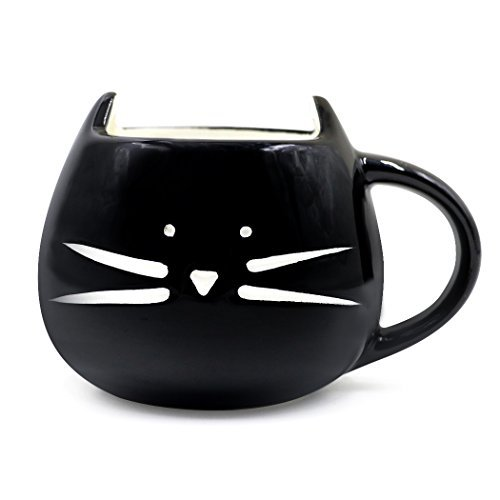 Teagas Cute Cat Mug 12 Oz for Coffee Tea – Black Cat Morning Coffee Ceramic Mug, Gift for Crazy Cat Lovers