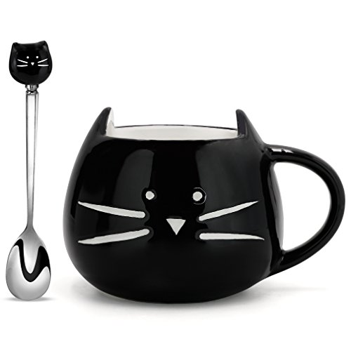 Koolkatkoo Cute Ceramic Black Cat Mug and Spoon 12 oz | Coffee Mug Gift, Cat Lover Gift, Anniversary Gift