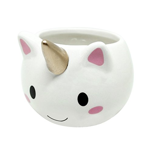 Cute Cartoon Unicorn-shaped Mug 3D Ceramic Coffee Cup with Colorful Handle for Home Office Unique Children Gift (White)
