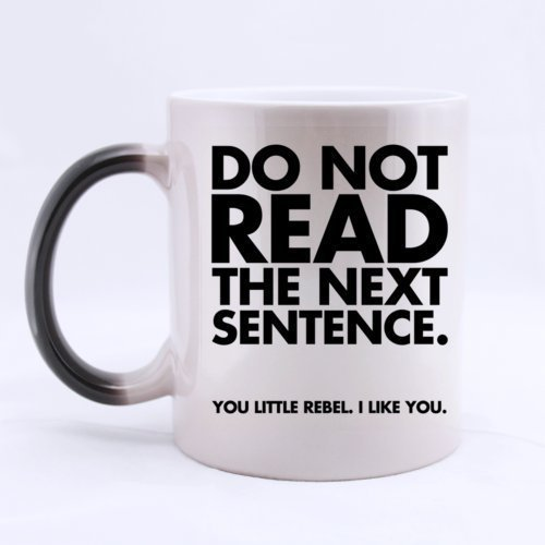 Cute Romantic DO NOT READ THE NEXT SENTENCE YOU LITTLE REBEL. I LIKE YOU Heat Sensitive Color Changing Mug Custom Ceramic Morphing Coffee/Tea Cup Mug