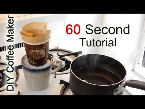 DIY Coffee maker in 60 seconds with household items. (Coffee Pour Over Method) #coffeehacks
