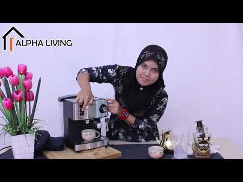 Alpha Living 15 Bar Stainless Steel Coffee Maker Espresso (KEA0041) ~ Demo Video ^_^