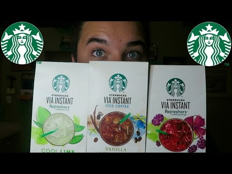 TRYING STARBUCKS INSTANT REFRESHERS/ ICED COFFEE! (Review)