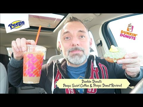 DUNKIN' DONUTS PEEPS SWIRL COFFEE & PEEPS DONUT REVIEW!