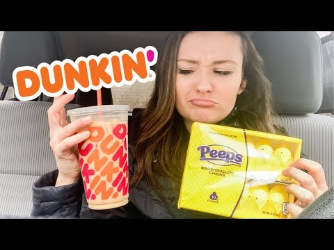 I TRIED DUNKIN'S PEEP COFFEE | PEEPS FLAVORED ICED COFFEE REVIEW | 2019 | Ashley Little