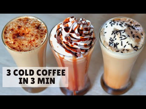How to Make Cold Coffee at Home | 3 Cold Coffees | With Ice Cream (Hindi)
