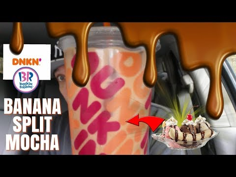 Dunkin'® Banana Split MOCHA Iced Coffee Review! | Baskin Robbins Inspired!