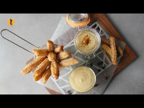 Churros with coffee Custard Sauce Recipe By Food Fusion