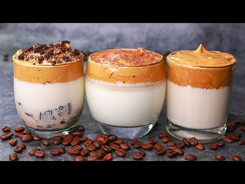 Dalgona Coffee Recipe in 3 Ways | TikTok Trending Dalgona Coffee | Whipped Coffee Recipe | Yummy