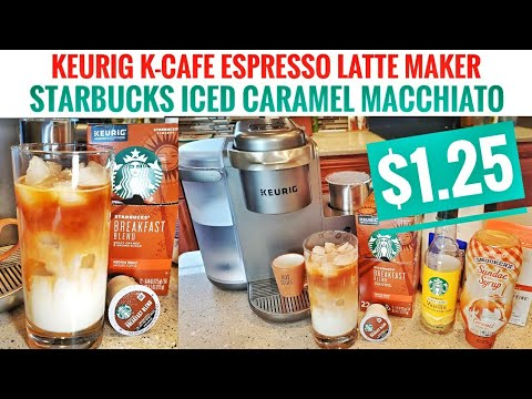 Keurig K-Cafe Espresso Latte Cappuccino Maker Starbucks ICED CARAMEL MACCHIATO $1.25 AT HOME K-Cup