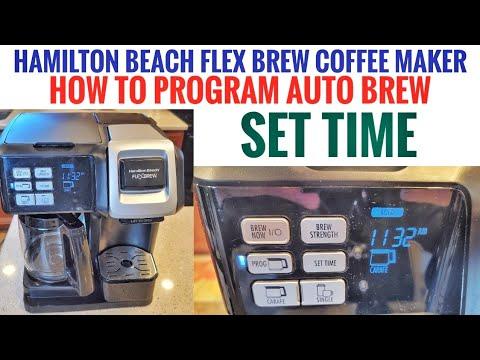 HOW TO PROGRAM AUTO BREW & SET TIME Hamilton Beach FlexBrew Coffee Maker K-Cup Machine 49954