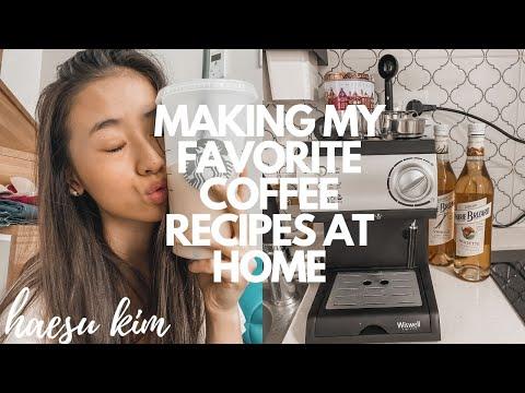 MAKING MY FAVORITE COFFEE RECIPES AT HOME: i bought an espresso machine lol | Haesu Kim