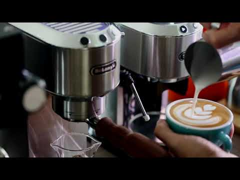 How to make coffee latte with DeLonghi Dedica EC685 Mod Steam wand & KG521Mod.