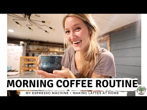 Morning Coffee Routine ( My Espresso Machine + making lattes at HOME)