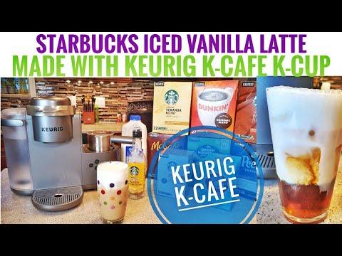 Keurig K-Cafe Coffee / Latte Maker HOW TO MAKE A STARBUCKS ICED VANILLA LATTE K-CUP