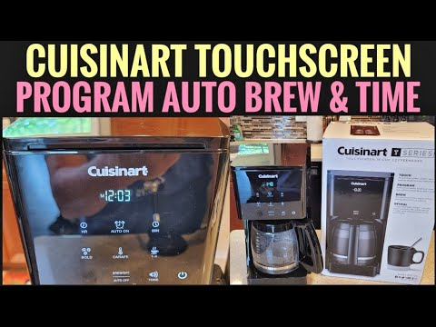 HOW TO PROGRAM AUTO BREW Cuisinart 14 Cup Touchscreen Coffee Maker DCC-T20 SET TIME