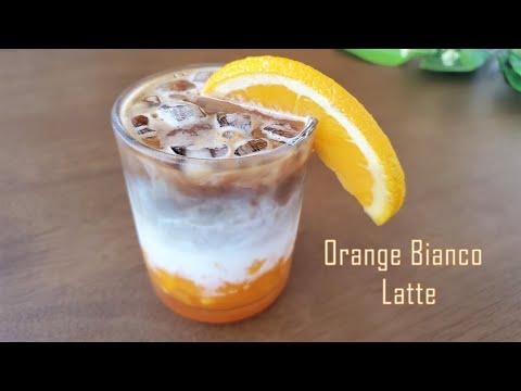 ORANGE BIANCO ICED LATTE RECIPE | Must try layered coffee |Iced Coffee Recipe| ASMR